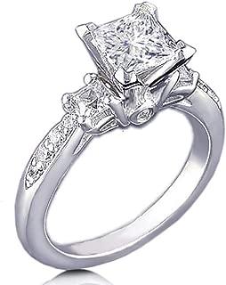 Venetia Realistic Supreme Princess Cut 3 Stones Simulated Diamond Ring 925 Silver Platinum Plated Pave Art Deco Decor