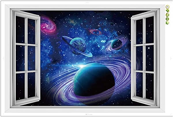 CNUSER Window View Wall Murals 3D Space Stickers Outer Star Wall Decals Milky Way Galaxy Decorations