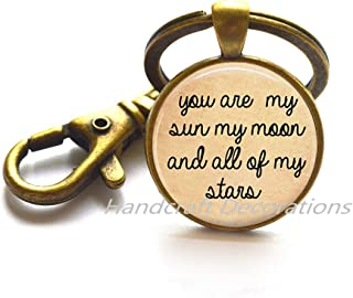 You are my Sun my Moon and all of my Stars Keychain, Quote Jewelry, Quote Keychain,anniversary engagement gift Key Ring Keychain Inspiration Jewelry.F165