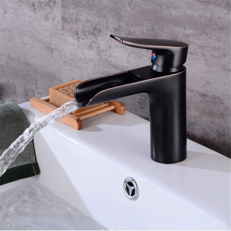 Becken Wasserhahn Deck Montiert Schwarz Becken Wasserhahn Messing Wasserfall Badezimmer Wasserhahn Platz Waschbecken Einzigen handgriff Heie und Kalte Wasserhhne