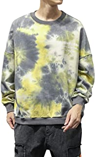 eipogp Tie-Dyed Crewneck Sweatshirt for Men, Casual Long Sleeve Lightweight Fleece Ribbed Cuffs Hem Blouse Loose Hippie Tops