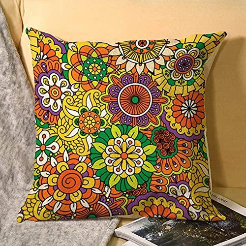 MODORSAN Funda de cojín cuadrada de lino de tamaño estándar Funky Vintage Retro años 70 Golden Hippie Floral 45 cm x 18 cm Funda de cojín decorativa para el hogar, sofá, coche, oficina