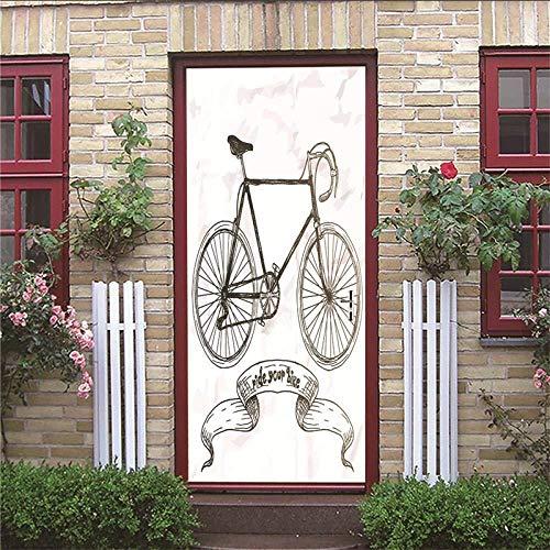 3D Deur Stickers Deur Muursticker 3D Diy Renovatie Behang Vintage Half Overdekte houten deur fiets Huiscultuur binnendeur Foto afneembaar 77X200 cm