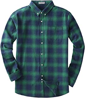 MOCOTONO Men's Long Sleeve Flannel Plaid Dress Shirt Western Button Down Shirts