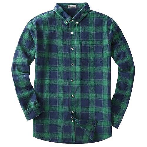 X-Future Men Plus Size Plaid Hoodie Regular Fit Long Sleeve Dress Flannel Checkered Shirt