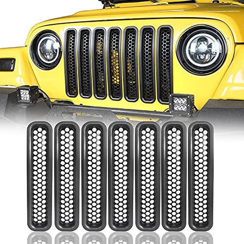 V8 GOD Wrangler Grill Insert Mesh Grille Cover Guards Clip-in for Jeep TJ Wrangler 1997 1998 1999 2000 2001 2002 2003 2004 2005 2006 - Black,7PCS