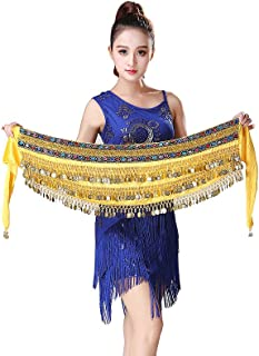 Velvet Belly Dancer Hip Scarf with Colorful Jeweled Sequin Trim Coins