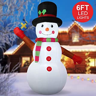 YUNLIGHTS 6 Foot Christmas Inflatable Snowman, Air Blown Inflatable Snowman with White LED Light for Outdoor Indoor Home Garden Yard Lawn Party Holiday Decoration