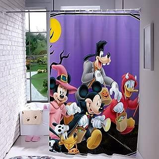 DISNEY COLLECTION Shower Curtain 72X72 Inch Halloween Mickey Mouse and Minnie Mouse Goofy Donald Duck Pluto Disney Halloween Wallpaper Bathroom Cartoon Cute Waterproof
