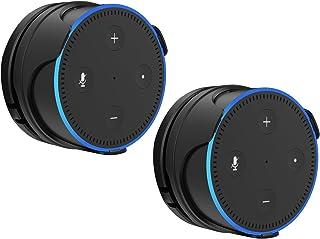 ProCase Echo Dot 第二世代 専用 壁掛けホルダー ハンガー スピーカースタンド ウォールマウント 取付き 安定性 省スペース バスルーム ベッドルーム キッチン -ブラック、2個入り