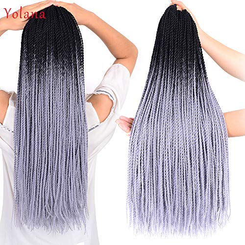 24Inch Senegalese Twist Crochet Braids Hair Synthetic Crochet Hair Extensions Small Havana Mambo Twist Crochet Braiding Hair For Black Women 30 Strands/Pack (6 Packs/Lot,Black/Silver Gray)