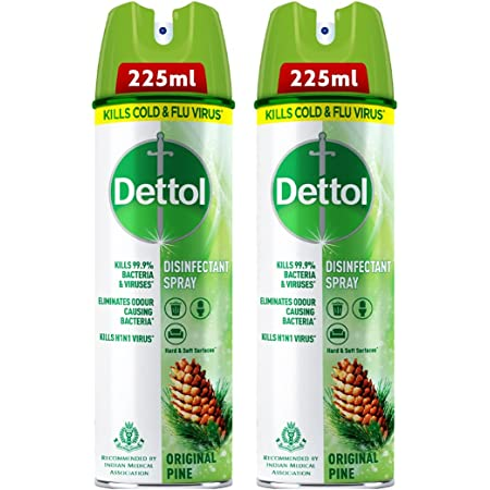 Dettol Disinfectant Sanitizer Spray Bottle | Kills 99.9% Germs & Viruses | Germ Kill on Hard and Soft Surfaces (Original Pine, Pack of 2 - 225ml each)