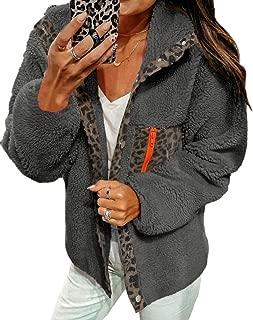 DUBUK Women Fleece Leopard Coat Long Sleeve Button Down Jackets Winter Lapel Outerwear Fashion Leopard Jacket