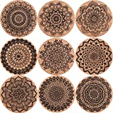 SIQUK 18 Pieces Cork Coasters Drink Absorbent Coasters 4 Inches Reusable Cup Mat Round Drink Coaster for Home Restaurant Office and Bar, 9 Styles