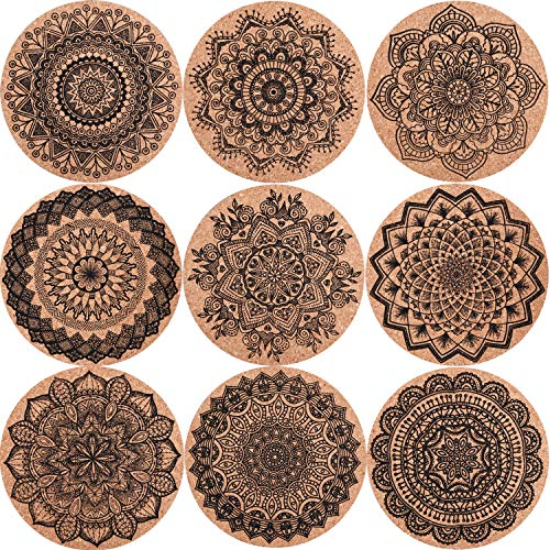 SIQUK 18 Pieces Cork Coasters Drink Absorbent Coasters 4 Inches Reusable Cup Mat...