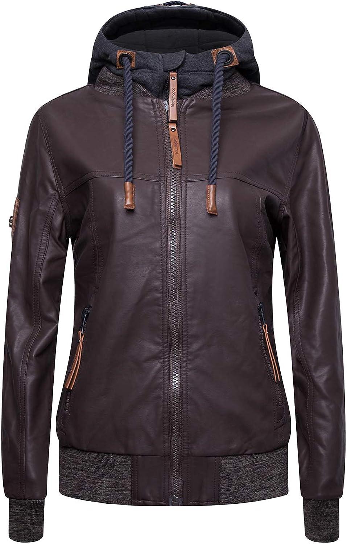 Blackmogoo Faux Leather Moto Jackets for Women Slim Fit Windbreaker and Waterproof Hooded Bike Jacket Coats