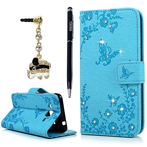 YOKIRIN J3 2016 Hülle Case, Samsung Galaxy J3 (2016 Version) Tashce Crystal Diamant Retro PU Leder Schutzhülle Handytasche Ständer Schmetterling Kreditkarten Halter Magnetische Handyhülle Blau