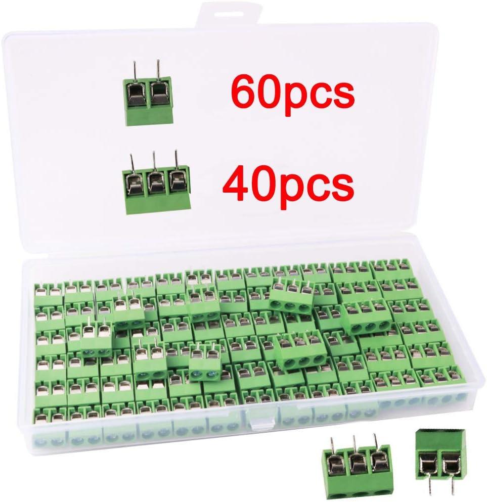RUNCCI-YUN100 Piezas 5mm 2 Pines/3 Pines PCB Bloque de Terminal de Tornillo de Montaje (2PIN-60Piezas, 3PIN-40 Piezas)
