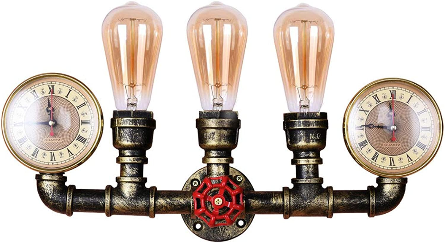 Lingkai Industrial Wall Sconce 3-Light Steampunk Wall Lamp Water Pipe Wall Light Fixture Wall Mounted Lighting in Antique Bronze Finish