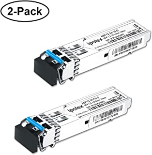ipolex 2-Pack 1000Base-LX Gigabit Single-Mode SFP LX Transceiver Module Compatible for Cisco GLC-LH-SMD, Ubiquiti, D-Link, Supermicro, Netgear, Mikrotik Devices (SMF, 1310nm, 10km, LC, DDM)