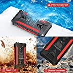 Solar Power Bank 36000maAh, QI Wireless Outdoor Waterproof Portable Solar Charger with 3 Outputs & Dual Inputs & LED…