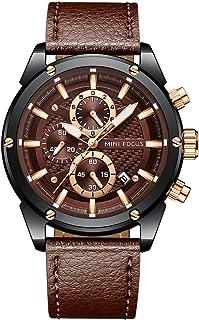 MINI FOCUS MF0161G Quartz Watch Business Men Simple Sport Wristwatch Three Sub-Dials Calendar Second Minute Display Timer ...