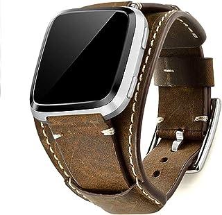 Leotop Kompatibel med Fitbit Versa / Versa 2 / Versa Lite/Versa Special Edition remmar, äkta läder klockarmband manschett ...