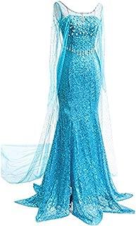 Quintion Norris Winter Elsa Snow Party Queen Dress Up Halloween Cosplay Costume