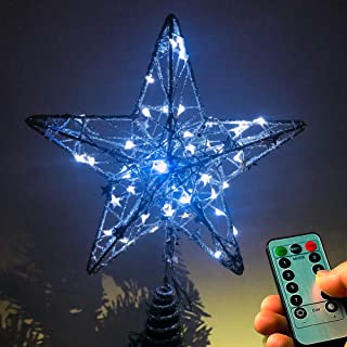 NIGHT-GRING Christmas Tree Topper Star LED Lights Star Treetop Battery Operated Christmas Decorations Xmas Décor (Silver)