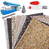 Kit de patchwork de paquete de tela artesanal de algodón 7 piezas 25 * 25 cm Paños de patrones diferentes impreso DIY Artcraft Cuadrados Pañuelo en la cabeza con máquina de coser tijeras (café)