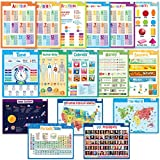 merka Educational Posters - School Set - 16 Large Posters - USA and World Map, Presidents, Human Body, Solar System, Periodic Table, Math and more - Great for Home and Schools - Size 17 x 22 inches
