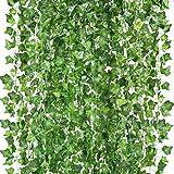 Amkun 12 Stück künstliche Hängepflanze, Seiden-Efeublätter, grüne Girlande für Hochzeit, Küche, Wand, Außenbereiche, Party, Feste, Dekoration