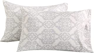 Vonty Floral Printed Pillowcase Queen Size, Brushed Microfiber Grey Pillowcase Set 20