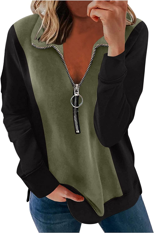 Women's 1/4 Zip Pullover Long Sleeve Collar Sweatshirts Funny Halloween Printed Activewear Running Jacket Casual Tops