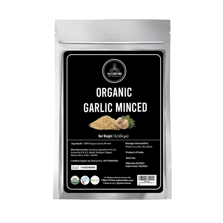 Naturevibe Botanicals Organic Garlic Minced, 1lb | Granulated Garlic Organic | Non-GMO and Gluten Free (16 ounces) [Packaging may vary]