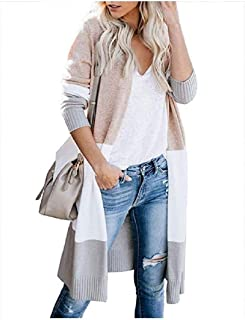 Howely Womens Slim Knit Contrast Color Long Sleeve Cardigan Trench Coat