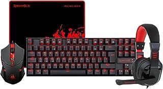 لوحة مفاتيح الالعاب الميكانيكية K552-BB BA والماوس وقاعدة ماوس كبيرة وسماعات راس الالعاب للكمبيوتر الشخصي بميكروفون من ريد...