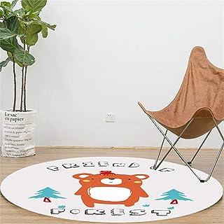 カーペット 6 帖 おしゃれ インテリア ラグラグ ピンクベージュ 80X80CM ラウンドカーペット子供の漫画の研究リビングルームの寝室のホワイエフロアマットスローリバウンドフットマットクロールマットリビングルーム丸型洗濯機