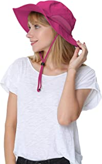 Womens Large Bucket Hat with Removable Chin Strap Quick Dry Water Resistant Sun Protective