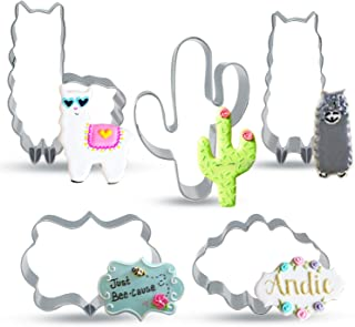 Bonropin Llama Cactus Plaque Frame Shaped Cookie Cutter Set(5 Pieces),Stainless Steel Cutters Molds Cutters for Making Muffins, Biscuits,Sandwiches,Cake,Fondant,Pancake