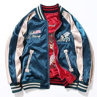 Embroidery Bee and Crane Street Satin Bomber Jacket Women Reversible Baseball Jackets,Blue,S