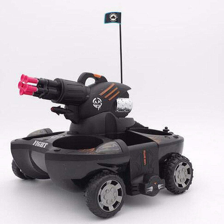 Ledu Ferngesteuerter Panzer, RCPanzerLadestart Zielferngesteuertes Auto 360 ° drehbarer Blitz Amphibien Amphibienboot Kinderspielzeug,Black
