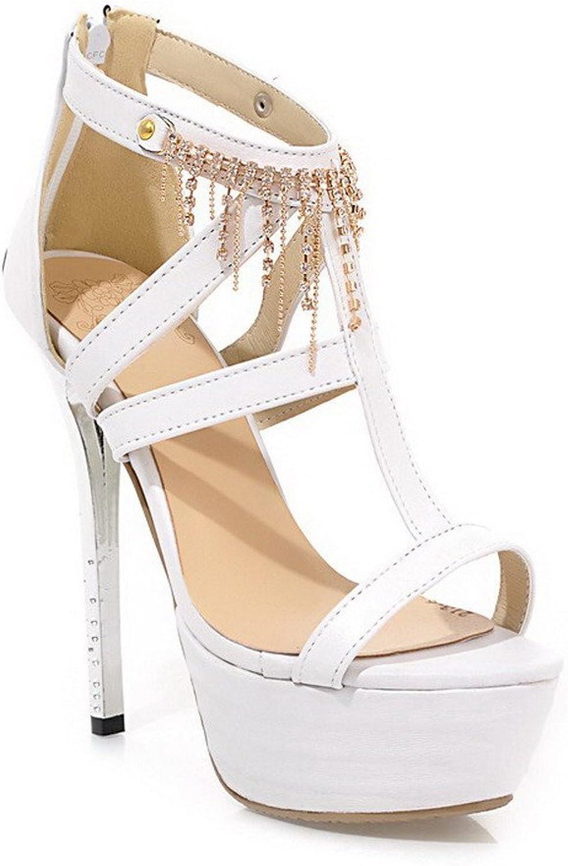 AmoonyFashion Women's Zipper Open-Toe High-Heels PU Solid Sandals
