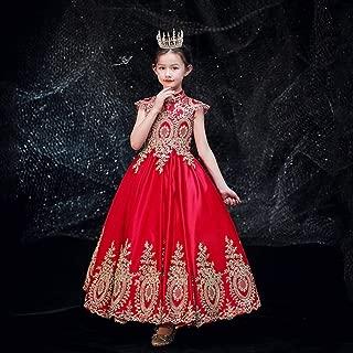 Luxury Violin Solo Girls Princess Dress Children Dress Princess Dress Catwalk Stage Costumes Gold Satin Dress ryq (Color : Red, Size : 90cm)