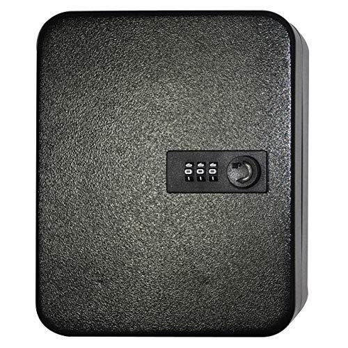 Key Cabinet Lock Box Wall Mount- 48 Keys Steel Security Cabinet with Combination Lock, Black