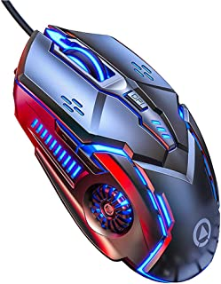 Eachbid Wired Gaming Mouse 6D 3200DPI Optical LED Computer Mice with USB Cable, 7 Color Breathing Lights for Laptop PC