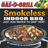 STEEMO Gas O Grill Aluminum Non-Stick Smokeless Indoor Tandoor Gas Grill, Multi-Functional Cook Top BBQ GasoGrill, 14 inches Jumbo Black