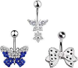 1-10PCS 14G Surgical Steel Dangle Navel Belly Button Ring Bar Curved Barbell Body Piercing Jewelry for Women Crystal CZ Ball Screw Navel Bars