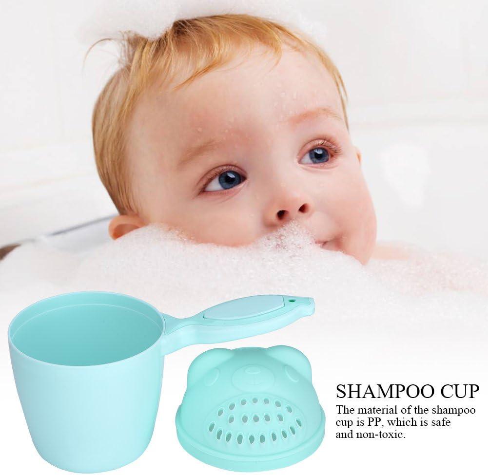 ViaGasaFamido Baby Bath Rinse Cup, Detachable Baby Bath Mug Baby Shampoo Rinser Tear-Free Waterfall Rinser Baby Bath Rinser Pail Kid Wash Hair Bathing Flusher for Baby Tub(Green)