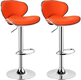 WGFdeng Retro Bar Stools Counter Stools Set of 2, Swivel Kitchen Breakfast Chair with Backs and Footrest Faux Leather Bar ...